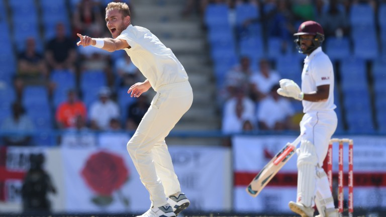 Stuart Broad was England's best bowler on day two in Antigua against the West Indies