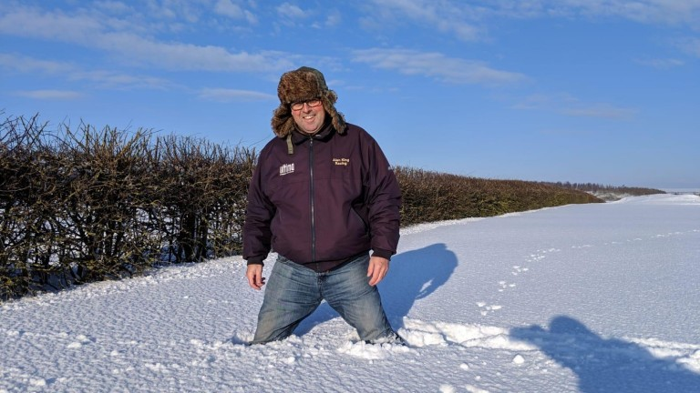 Alan King's gallops are covered in snow