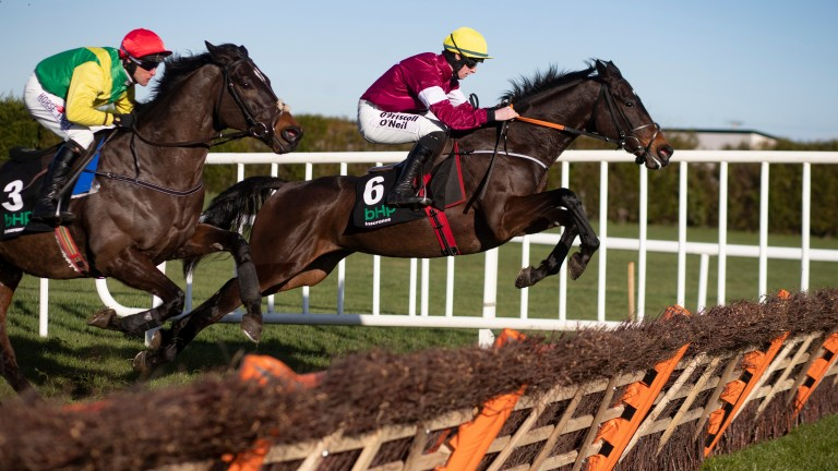 Apple's Jade and Jack Kennedy on their way to victory in the Irish Champion Hurdle