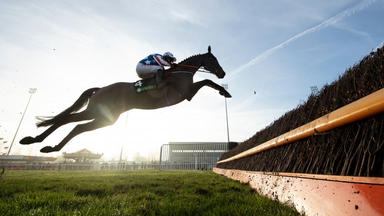 Special Tiara puts in a spectacular jump in the Desert Orchid Chase at Kempton last year