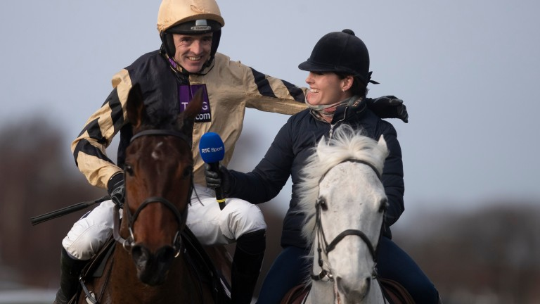 Bellshill and Ruby Walsh greeted by sister Katie on Thousand Stars after winning the Unibet Gold Cup Chase (Grade 1).Leopardstown.Photo: Patrick McCann/Racing Post 03.02.2019.