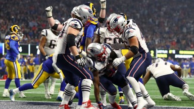 Sony Michel of the New England Patriots scores the winning touchdown against the Los Angeles Rams in Super Bowl LIII