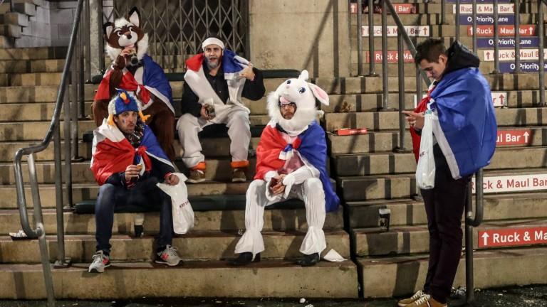 Dejected France fans at Twickenham
