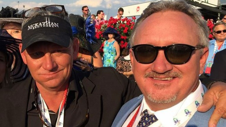 JB McKathan (right) with brother Kevin: oversaw the young career of American Pharoah