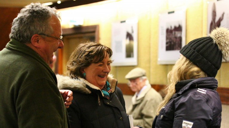 Cathy Grassick shares a joke with Tara Stud's Derek Iceton and Diane Hutch after signing for the Lope De Vega filly