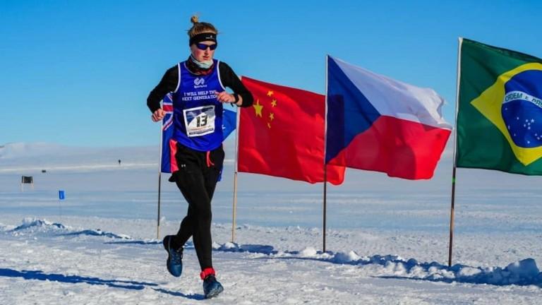 Susannah Gill starts off her extraordinary Marathon Challenge in Antarctica