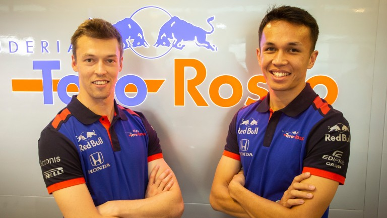 Daniil Kvyat (left) returns to Toro Rosso after a year off while Alexander Albon will make his F1 debut