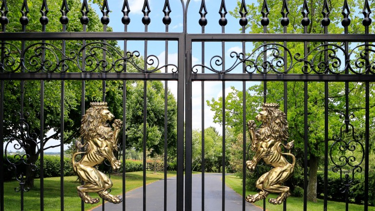 Appropriately, lions adorn the gates of Jane Lyon's Summer Wind Farm