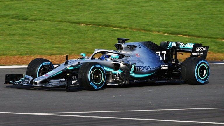 Valtteri Bottas takes the new Mercedes F1 car for a spin