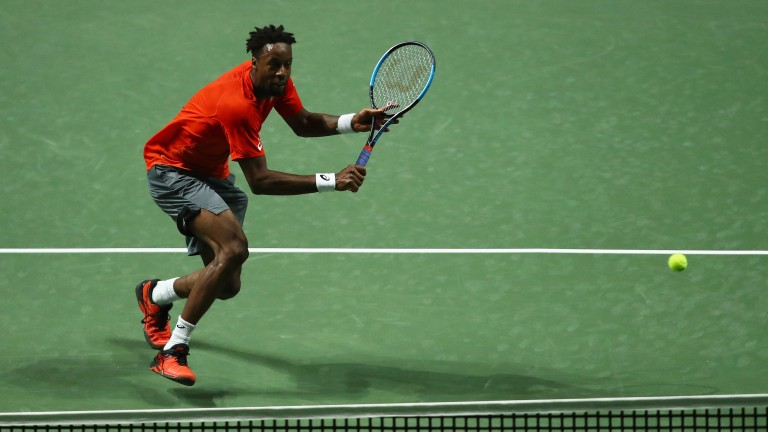 Gael Monfils on his way to a 6-1 6-2 quarter-final victory over Damir Dzumhur on Friday