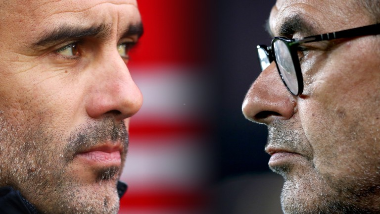 Pep Guardiola (left) and Maurizio Sarri (right) have met five times as managers