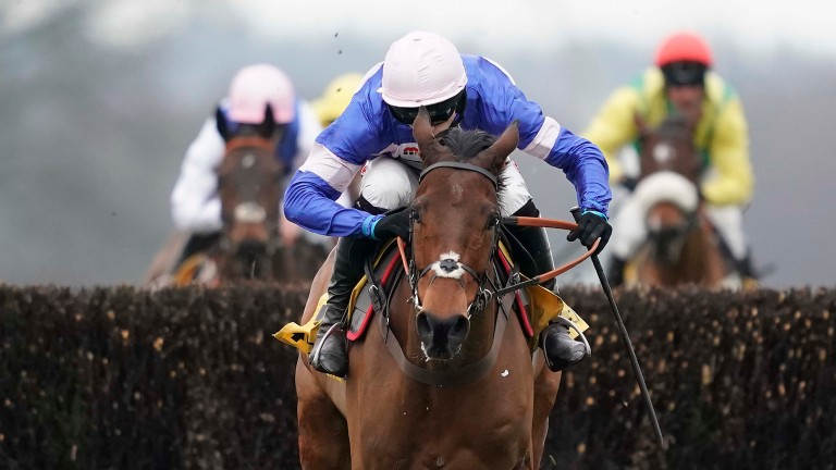 Relentless: Cyrname clears the last before galloping away with the Betfair Chase