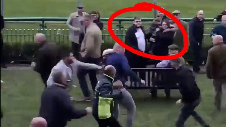 Rosanna Pownall shielded her child as punches were thrown at Haydock on Saturday afternoon