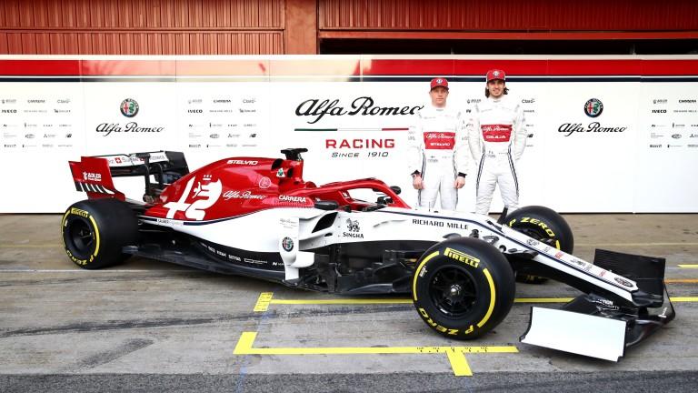 Kimi Raikkonen and Antonio Giovinazzi unveil the Alfa Romeo C38 at Barcelona