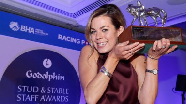 Catriona Bissett, cornwed employee of the year at the Godolphin Stud and Stable Staff Awards