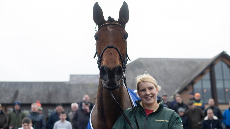 A lovely shot of Laurina, with Ashling O'Brien, in the winner's enclosure