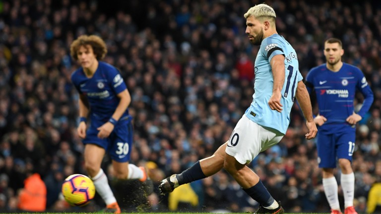 Sergio Aguero notched three times in Man City's 6-0 dismantling of Chelsea at the Etihad