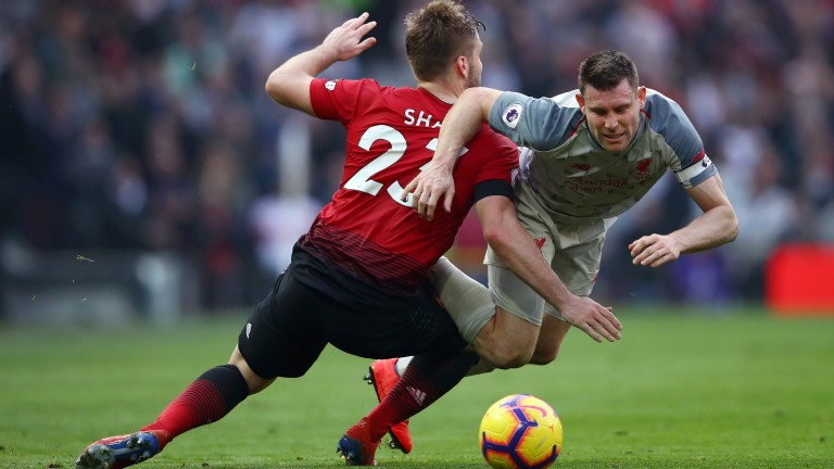 Luke Shaw challenges Liverpool's James Milner in the 0-0 draw at Old Trafford