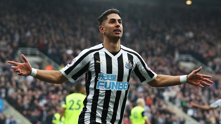 Newcastle's Ayoze Perez celebrates his goal against Huddersfield