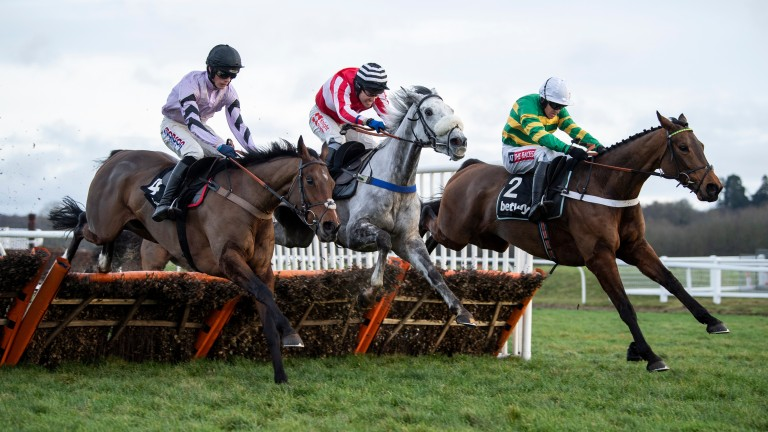 Getaway Trump (left) finishing second in the Challow at Newbury