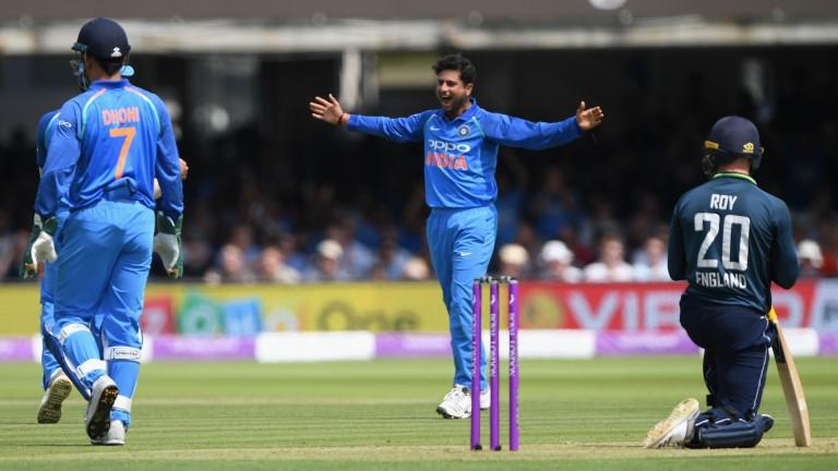 India spinner Kuldeep Yadav celebrates the wicket of England's Jason Roy at Lord's