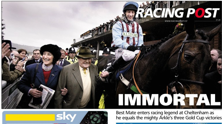 The Racing Post front page from 2004 pays tribute to Best Mate after he secured his third consecutive Gold Cup victory