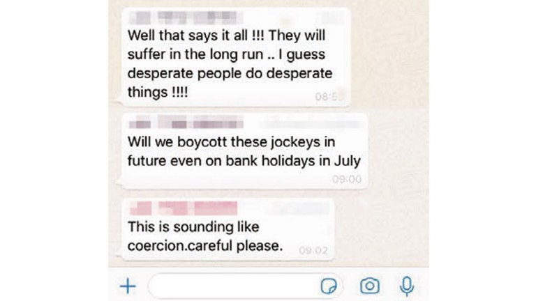 Discussion takes place on the trainers' WhatsApp group