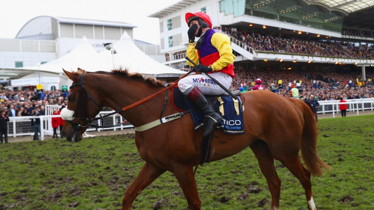Richard Johnson celebrates his 2018 Cheltenham Gold Cup success aboard Native River