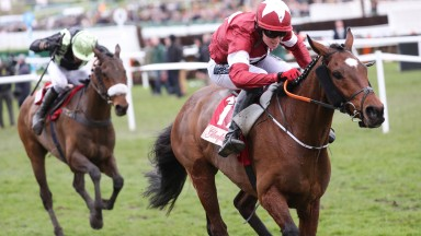 Best of the rest... Urgent De Gregaine and Felix De Giles chase home Tiger Roll in the Glenfarclas Cross Country Chase at Cheltenham in March 2018