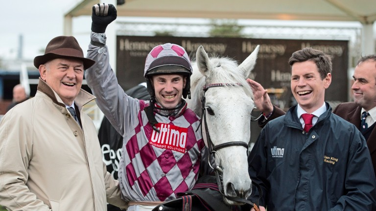 Wayne Hutchinson celebrates winning the Hennessy Gold Cup with Smad Place