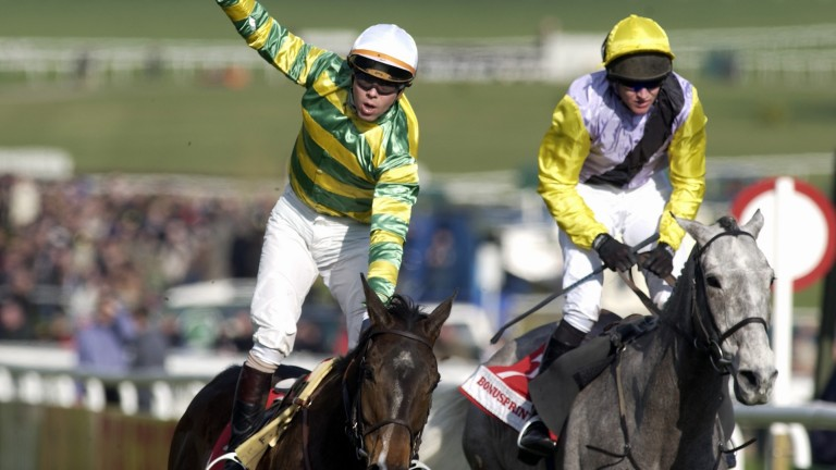 Glory days: Baracouda lands the 2003 Stayers' Hurdle for French father-and-son combination Francois and Thierry Doumen