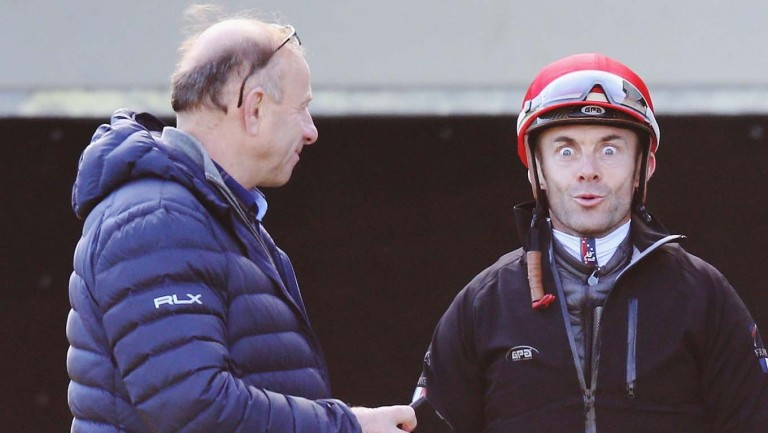 Alain Couetil chatting with a relaxed Olivier Peslier ahead of the 2017 Melbourne Cup