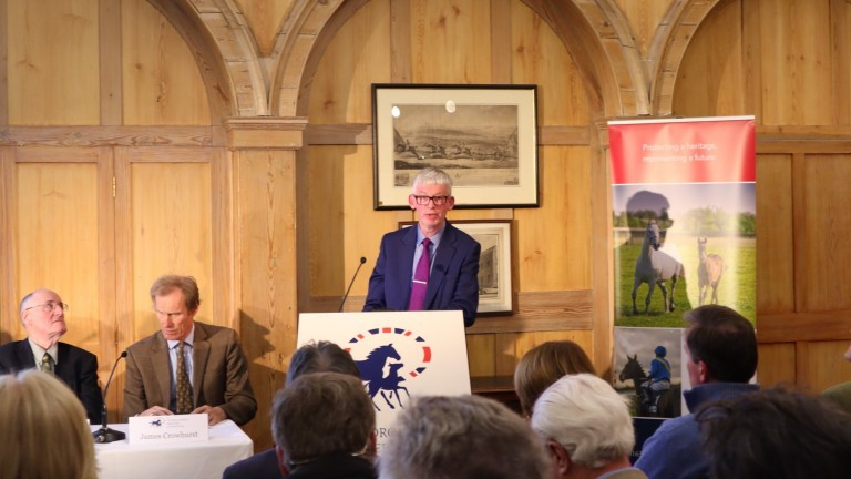 DEFRA's Simon Waterfield addresses the Extraordinary General Meeting of the Thoroughbred Breeders? Association in Newmarket