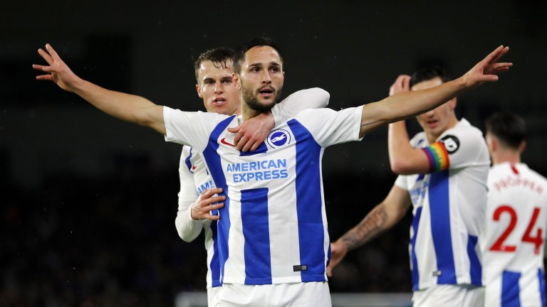 Florin Andone celebrates Brighton's third goal in their home win over Crystal Palace