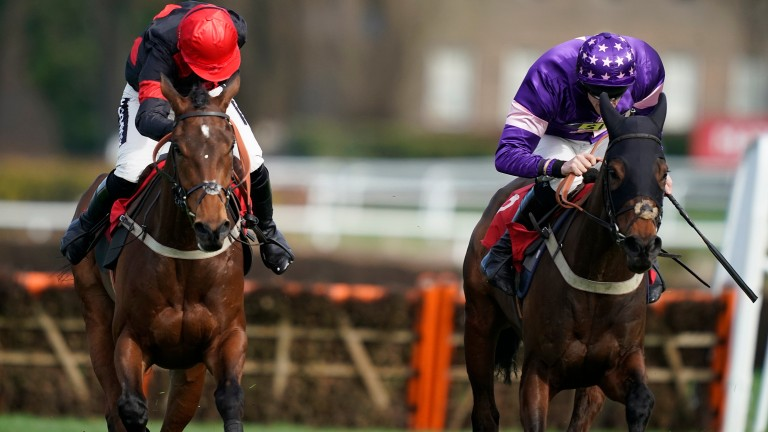 Le Milos (right) gets the better of The Knot Is Tied in the opening race at Sandown on Saturday. The distances between the placed horses were changed from those originally given by the judge