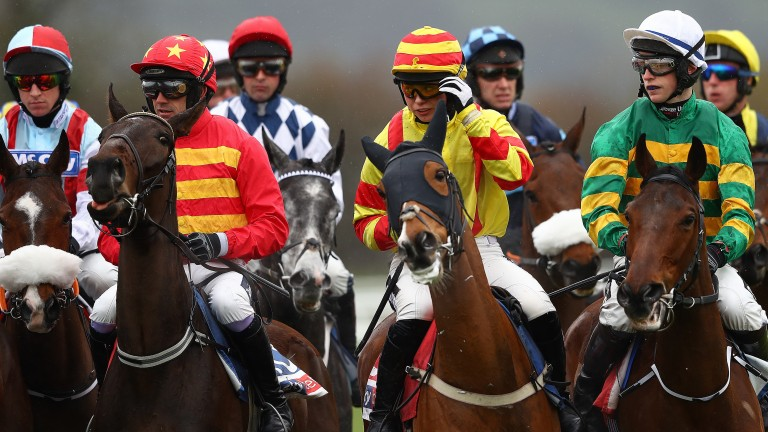 Jockeys prepare for the start of the Supreme Novices' Hurdle on Tuesday