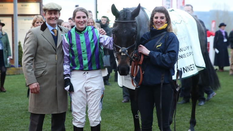 Stuart Edmunds with winning rider Gina Andrews after the success of Domesday Book in the Fulke Walwyn Kim Muir at the 2017 Cheltenham festival