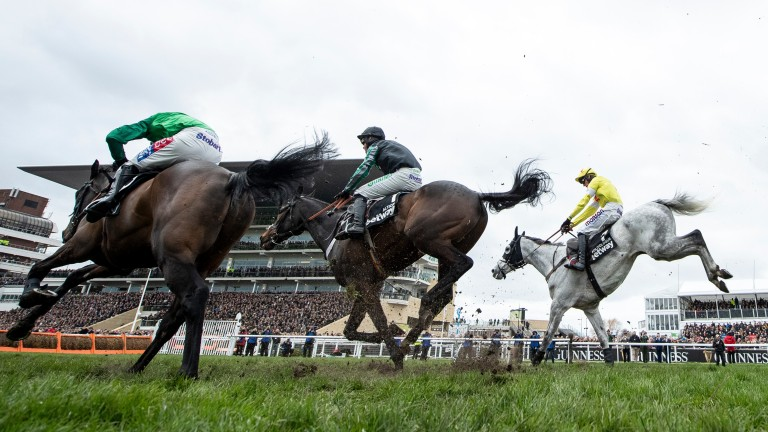 All to play for: Altior (centre) jumps the last fence with Sceau Royal (left) and Politologue before storming clear up the hill
