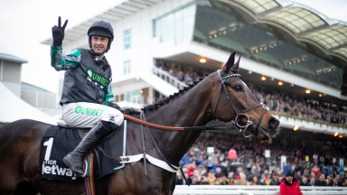 Altior and Nico de Boinville after winning the Queen Mother Champion Chase.Cheltenham Festival.Photo: Patrick McCann/Racing Post 13.03.2019