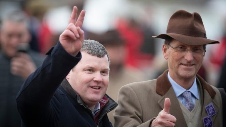 Gordon Elliott (left) and Chris Richardson celebrate Envoi Allen's Champion Bumper success