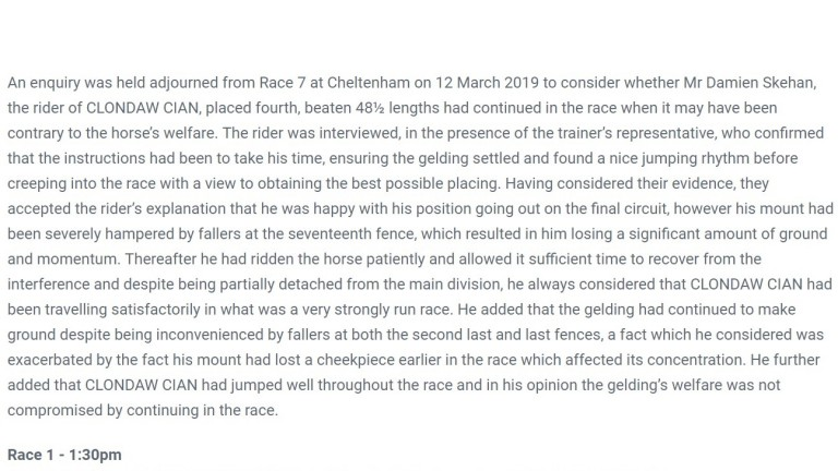 Stewards report clearing Damien Skehan after Clondaw Cian finished fourth in the amateur riders' NH Chase at Cheltenham
