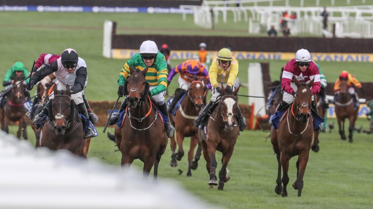Sire Du Berlais (green and gold) wins the Pertemps under Barry Geraghty