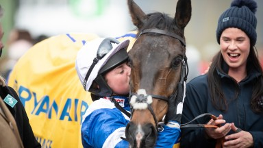 Bryony Frost and Frodon after battling back to win the Ryanair Chase