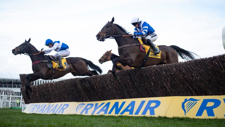 Frodon (right) jumps alongside 33-1 runner-up Aso on his way to a brave win in the Ryanair Chase