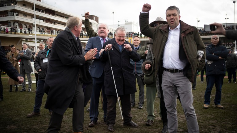 Andrew Gemmell owner of Paisley Park reacts as he listens to him win the Sun Racing Stayers Hurdle (Grade 1).Cheltenham Festival.Photo: Patrick McCann/Racing Post 14.03.2019