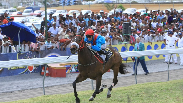 Paul Mulrennan on his way to victory at Champs de Mars in Port Louis, Mauritius