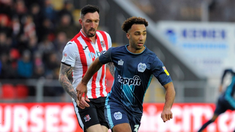 Nicky Maynard of Bury (right) has been in excellent form