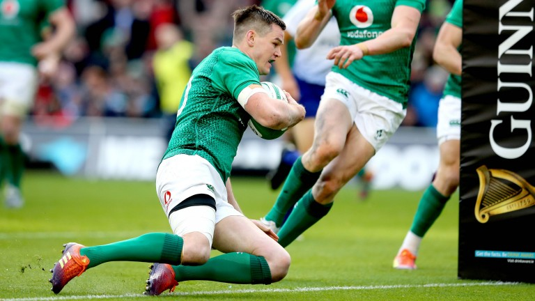 Johnny Sexton goes over for Ireland's second try against France