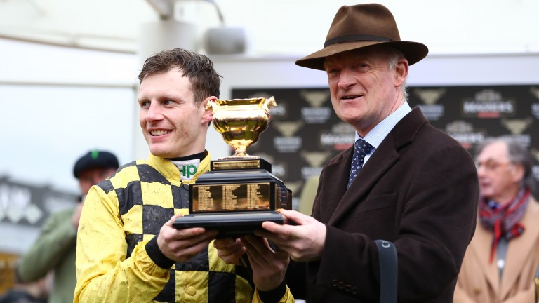 Paul Townend and Willie Mullins with the treasured Gold Cup trophy