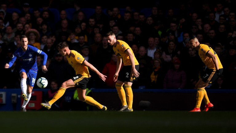 Chelsea needed a late equaliser from Eden Hazard (left) against Wolves last weekend